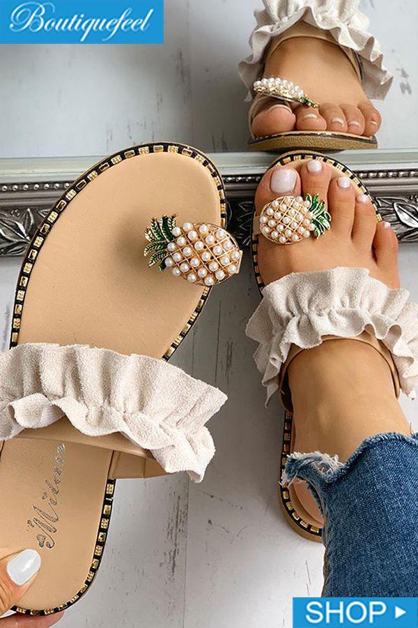 Pineapple Pattern Toe Ring Frill Hem Casual Sandal…