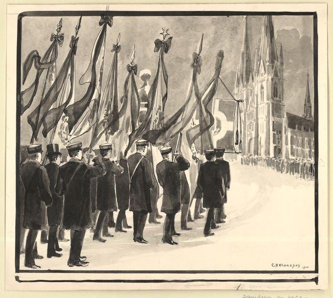 [BILD:2974] Ärkebiskop A. N. Sundbergs begravning : Studenterna företrädda af sina fanor och sångarstandaret i spetsen för processionen till domkyrkan