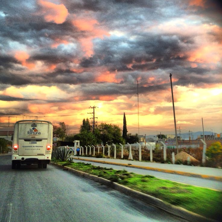 Bus Ride .. Mexico. tehuacan. Afternoon lights in the clouds.