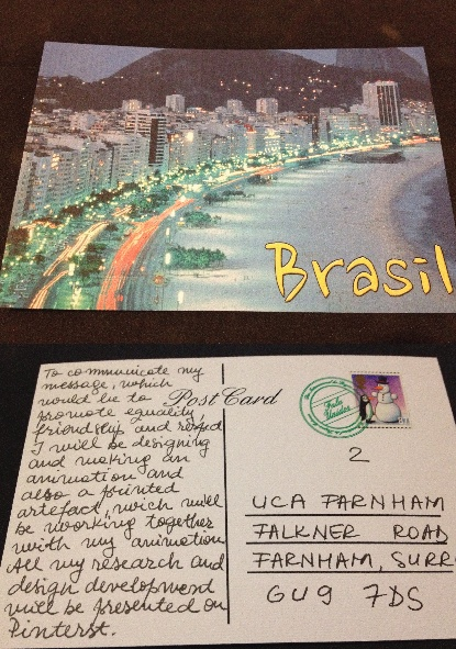 This is one of my final printed artefact, I chose this image because I believe is best suited to represent Brazil. On the back there are more details on the statement of intent.