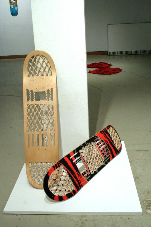 "JORDAN BENNETT, CANADA. jilaqami'gno'shoe, 2009  Carved Skateboards  8.6""x 27.5""x1.5"" x 2"