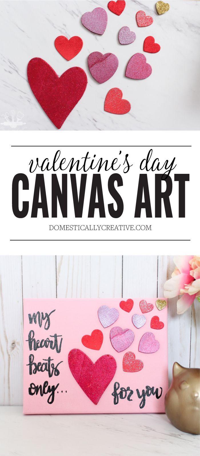 Easy Valentine S Day Canvas Art Valentine S Day Diy Valentine Day Crafts Valentines Diy