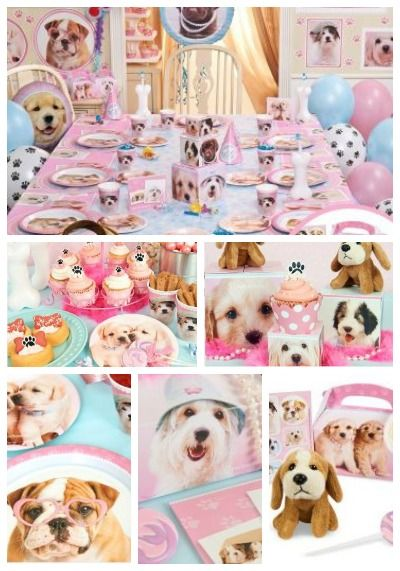 Glamour Dogs Party Supplies. These adorable supplies feature puppies with pearls, hats and glasses. So cute.