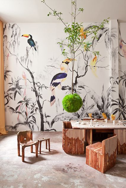 Pablo Piatti   39 Tropical Birds  39  wallpaper mural  Tres Tintas Barcelona   Max Lamb. 1000  images about bathroom on Pinterest   British colonial