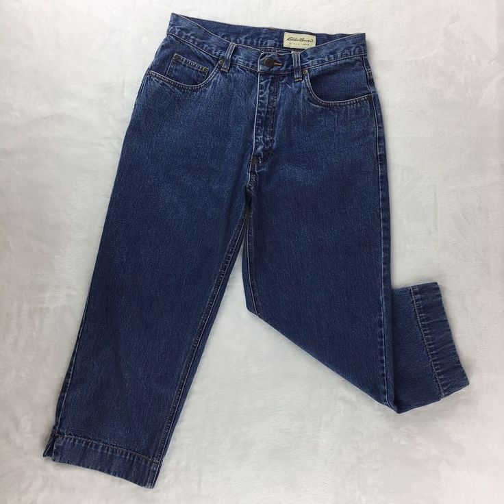 Womens Eddie Bauer Cropped Capri Blue Jeans - High Rise, Denim, Cotton - Size 8 #EddieBauer #CapriCropped