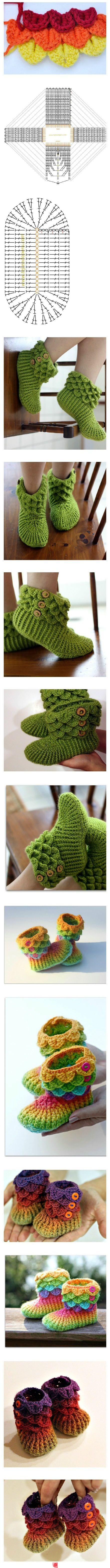 Crocodile stitch booties