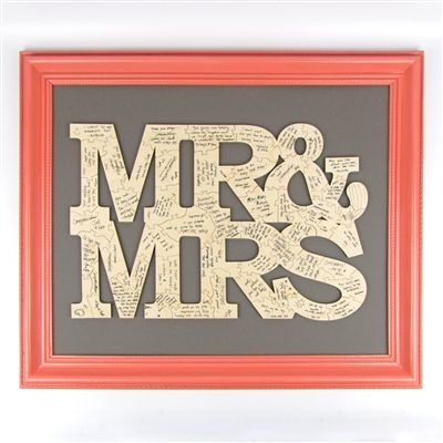 """Mr. and Mrs."" Solid Wood Guest Book Puzzle - Personalized Guest Book Alternative----You could back it with cute/whimsical wrapping paper and any frame you want"