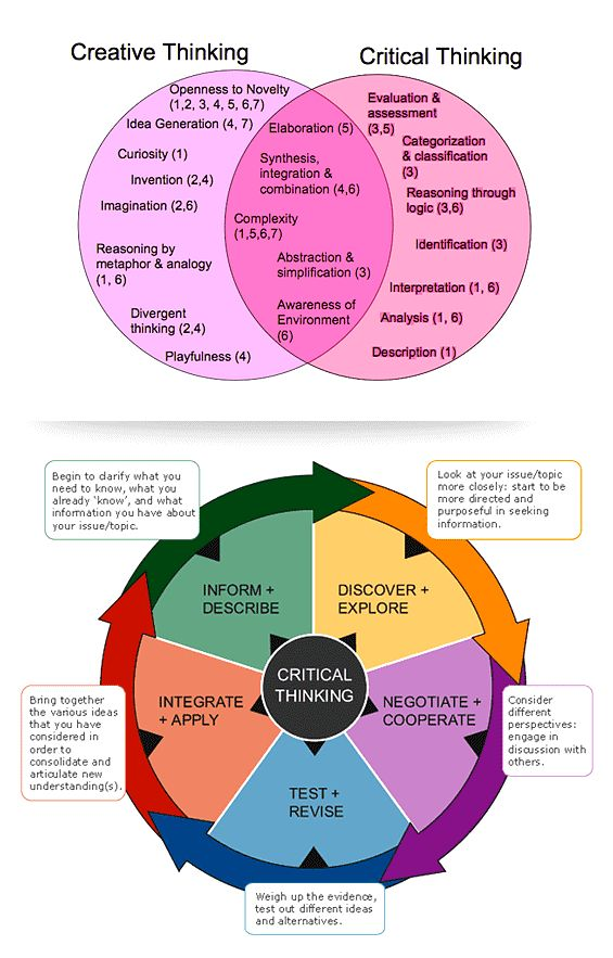 A Venn diagram of critical and creative thinking and a critical thinking wheel - no link to a website.