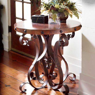 Iron Base Occasional Table With Copper Top King Ranch