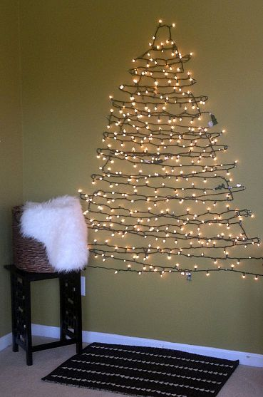 DIY CHRISTMAS TREE ALTERNATIVE. Wall Christmas TreeChristmas Lights ...