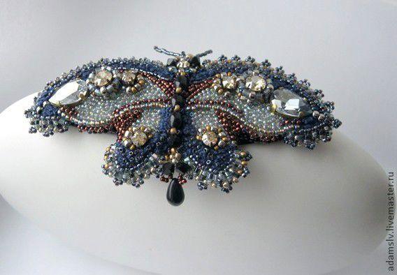 """Купить Брошь-бабочка """"Реки"""" - тёмно-синий, брошь из бисера, брошь-бабочка, бабочки, бабочка"""