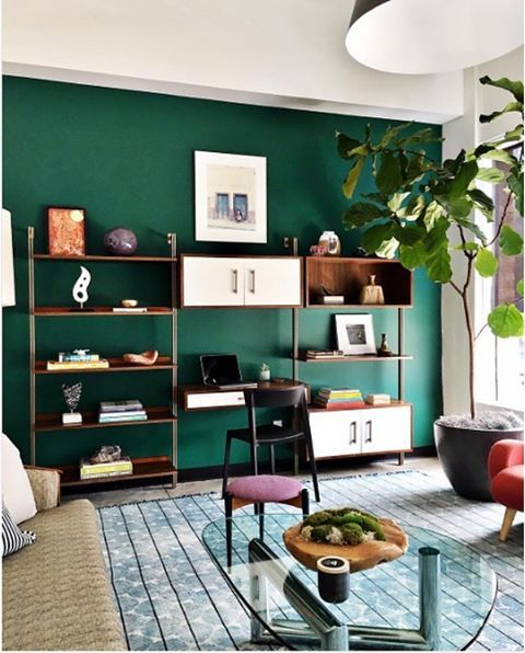 "757 Likes, 9 Comments - Benjamin Moore (@benjaminmoore) on Instagram: ""Offices don't need to be drab. Give your workspace a quirky spin with a dark accent wall, like…"""