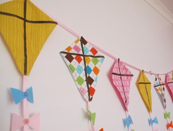 Kite Bunting for Girl's Room 2 meters long by LaLaLaDesigns, $41.99