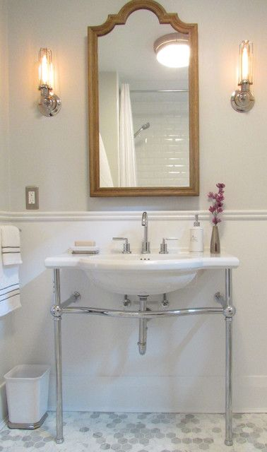 White Waste Basket, Wall Sconces & White Sink - Beach Style Bathroom By Jenn Hannotte / Hannotte Interiors