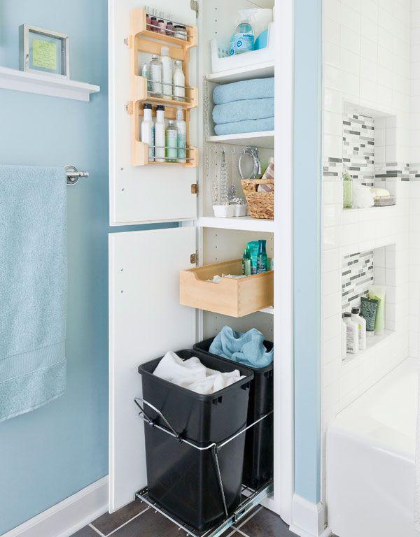Functional Closet Behind The Wall For Small Bathroom Idea : Creative Small  Bathroom Storage Tips