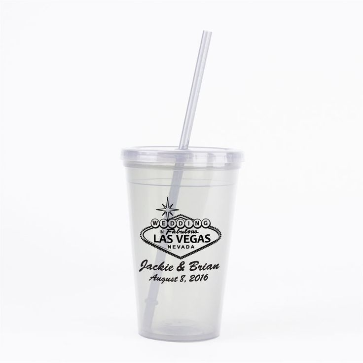 Las Vegas Wedding Favors 60 16oz Double Walled Tumblers with Lids & Straws Personalized with any Names and Wedding Date by Factory21 on Etsy