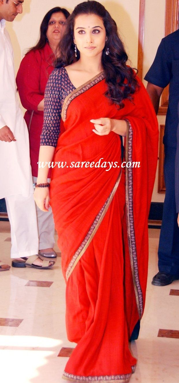 Latest Saree Designs: vidya balan in designer red saree