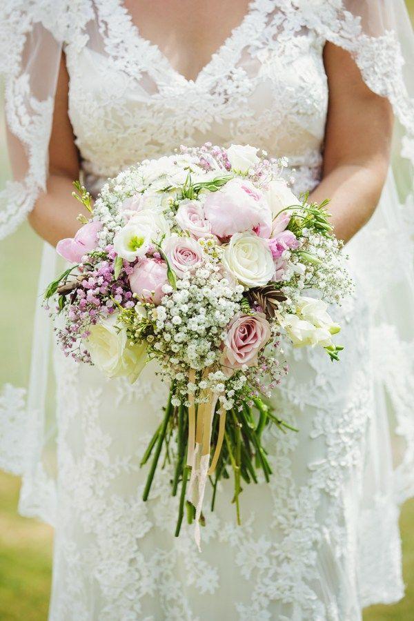 Pretty Summer Love Fest Wedding Pink Peony Rose Gypsophila Bridal Bouquet Flowers http://www.gemmawilliamsphotography.co.uk/