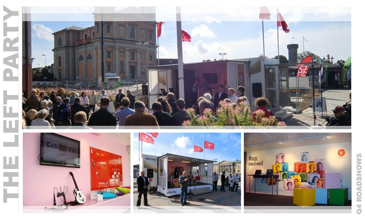 During the prelude to 2010's election campaign, the Left Party went on a nation-wide survey with the ambition to get the Swedes' opinions on how to build the world's best welfare state. Based on the successful result, they continued with an election tour. The exhibit attracted many visitors offering activities such as sports, TV games and performances. The campaign also included debates, public speeches and press conferences.