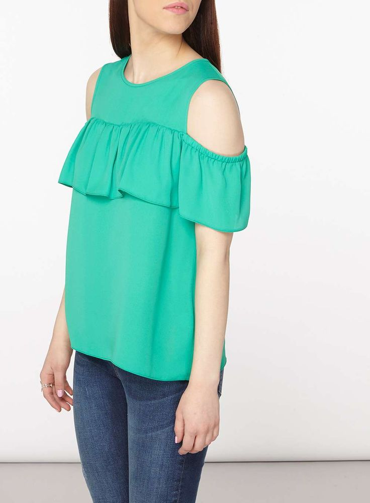 Womens Petite Green Cold Shoulder Top- Green