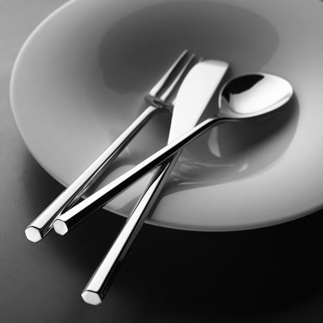 MU Cutlery by Toyo Ito for Alessi - designed with slim handles like chopsticks that end in a hexagon - love love love