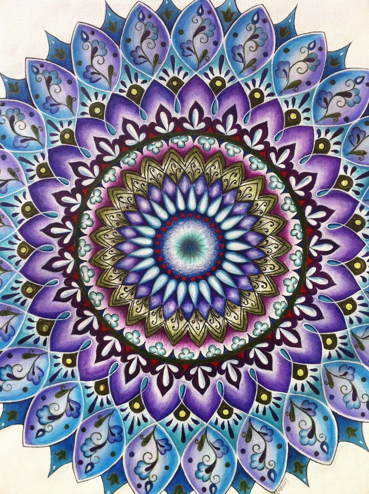 "24"" original painting on canvas using acrylic paint. It evokes a sense of inner peace, insight, a keen perception of our spirituality, and knowledge of our paths. The deep greens represent health, abundance and wellness, indigo represents spiritual realization and wisdom that radiates outward; turquoise is known for communication and clarity of thought, and the colors in this mandala are blended with blues and violets which also have special significance."