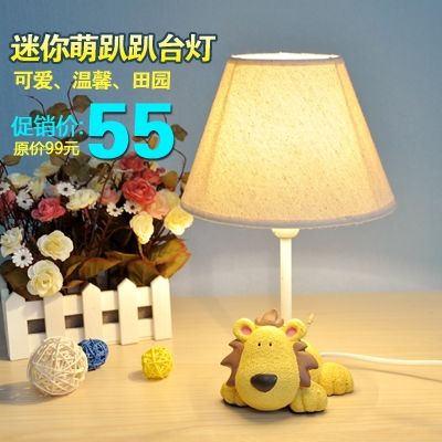 83.44$  Watch here - http://ali54b.shopchina.info/go.php?t=1814465239 - Mini resin cartoon table lamp child real bedside lamp rustic fabric small table lamp gift  #buyonline