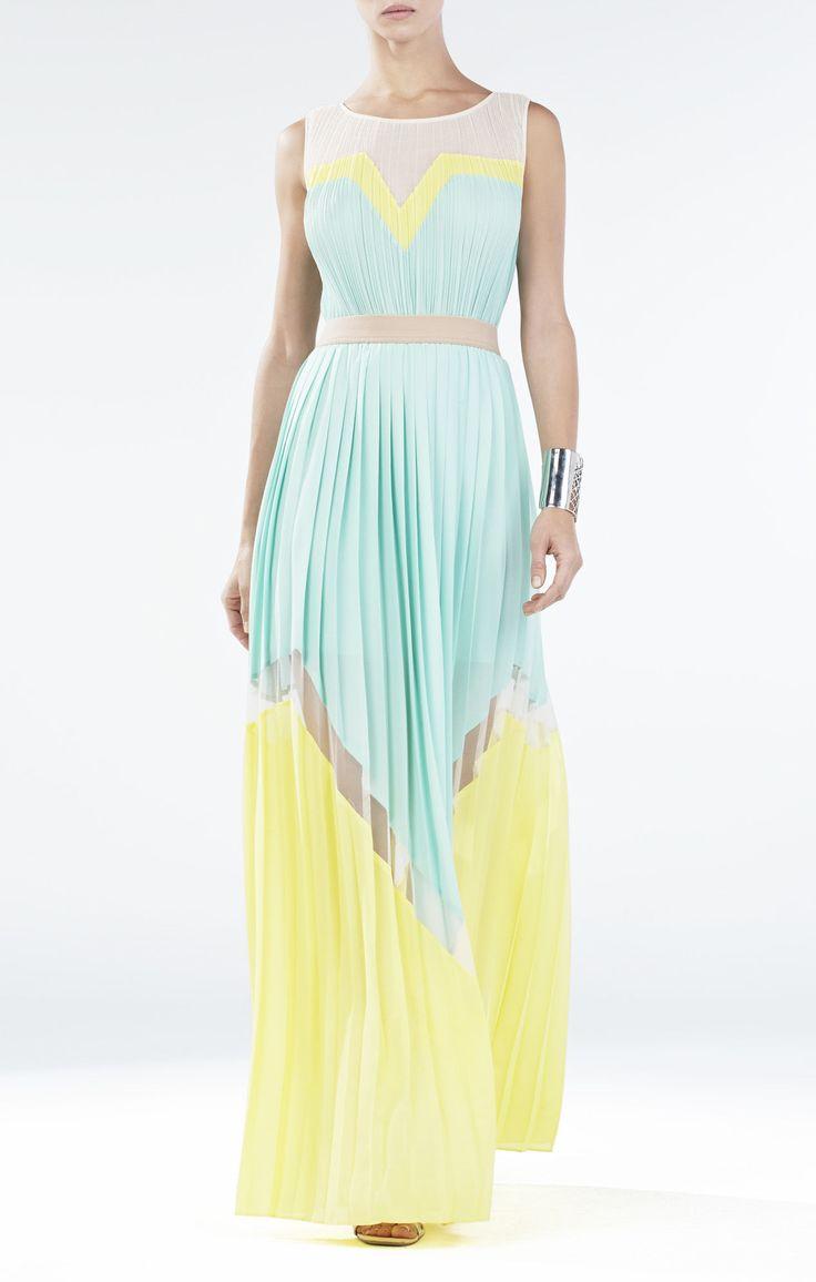 Love The Pleats And Color Combination Bcbgmaxazria Kathrine Pleated Blocked Long Dress