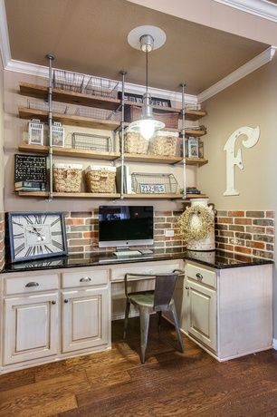 Industrial Home Office with Crown molding, Warehouse Vintage Industrial Pipe Shelving Unit, Small, Pendant light