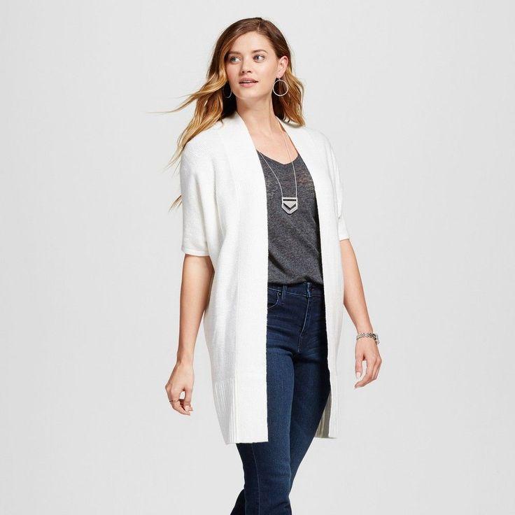 Women's Open Layering Cardigan Sour Cream Xxl - Merona