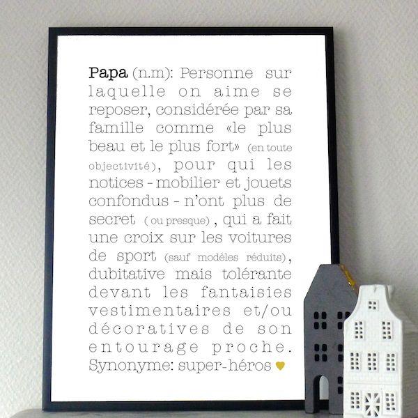 papa, définition, babayaga, magazine, webzine, affiche, poster, déco, décoration, enfants, maison, chambre, fête des pères, cadeau