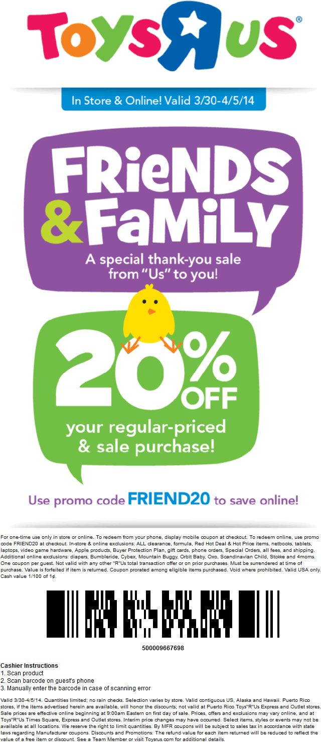 toys r us 20 off in store or online promo code friend20 exp