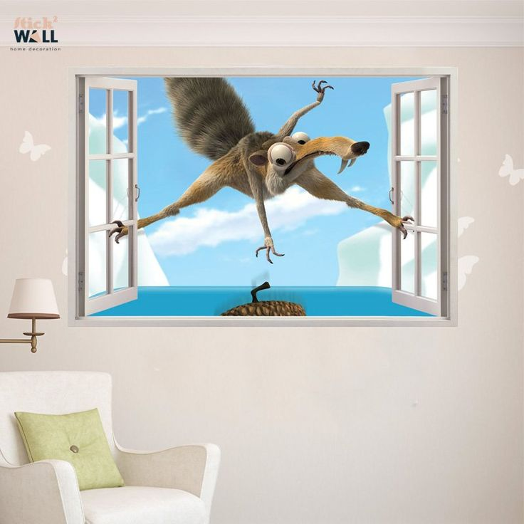 Kids bedroom 3d wall sticker vinyl decal window view ice age from stick2wall com