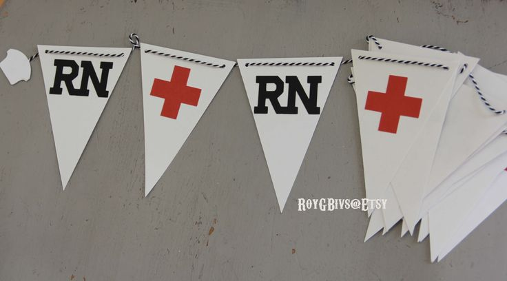 RN. Nursing. Graduation. Healthcare. Red Cross. Banner. Party Decorations.