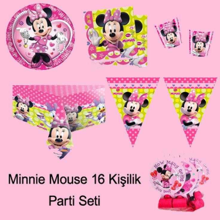 Minnie Mouse Parti Seti (16 Kişilik)   Minnie Mouse Doğum Günü Parti Seti içerisinde bulunan Mini mouse parti malzemeleri;  Minnie Mouse Tabak : 16 Adet Minnie Mouse Bardak : 16 Adet Minnie Mouse Peçete : 20 Adet Minnie Mouse Temalı Balon : (20 Adet) Minnie Mouse Masa Örtüsü : 1 Adet Minnie Mouse İyi ki Doğdun Yazısı : 1 Adet Minnie Mouse İyi ki Doğdun Konuşma Balonu : 2 Adet Pembe Lüks Plastik Çatal : 25 Adet Minnie Mouse Flama : 1 Adet