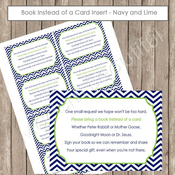 Insert Card Quot Book Instead Of A Card Quot Lime And Navy