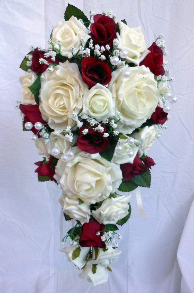 Teardrop Wedding Bouquet, Ivory and Burgundy Roses with ...