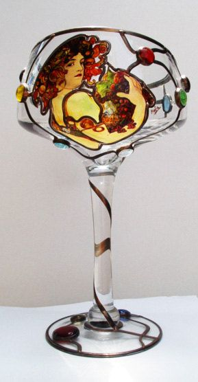 """Alphonse Mucha, Fruit Vase  Size: 355 mm x 178 mm (14"""" x 7"""")  Care: Use a mild cleaning solution that does not contain abrasives or acid. Dry and polish the surface with a soft cloth. All of ours products are originals. None can be the same, thanks hand painting on stained glass."""
