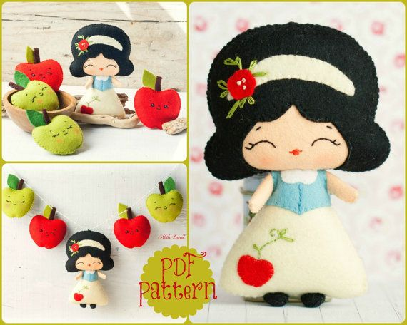 PDF. The snow white garland pattern. Fairy tale pattern. Plush Doll Pattern, Softie Pattern, Soft felt Toy Pattern. 7$