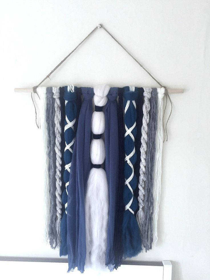 Blue Fabric and Mixed Yarn Wall Hanging by ShelleysHandcrafted on Etsy