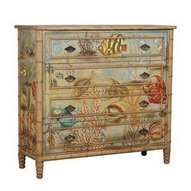 SEA ISLAND DRESSER - at Tuvalu Home Furnishings  Artisan Stain finish on four drawer chest with fabric applique. Fabric is hand-painted with Bali Island tropical motif.