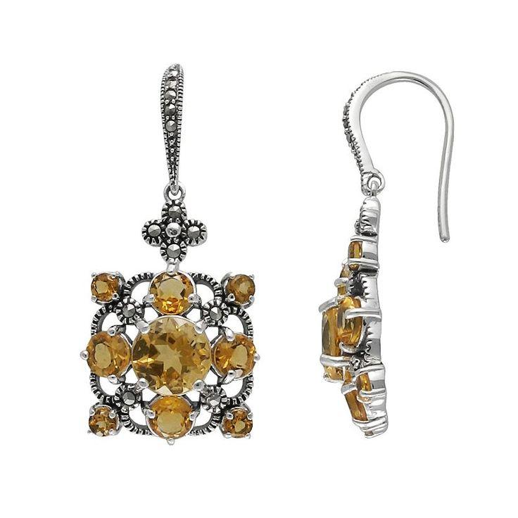 Lavish by TJM Sterling Silver Citrine Drop Earrings - Made with Swarovski Marcasite, Women's, Orange