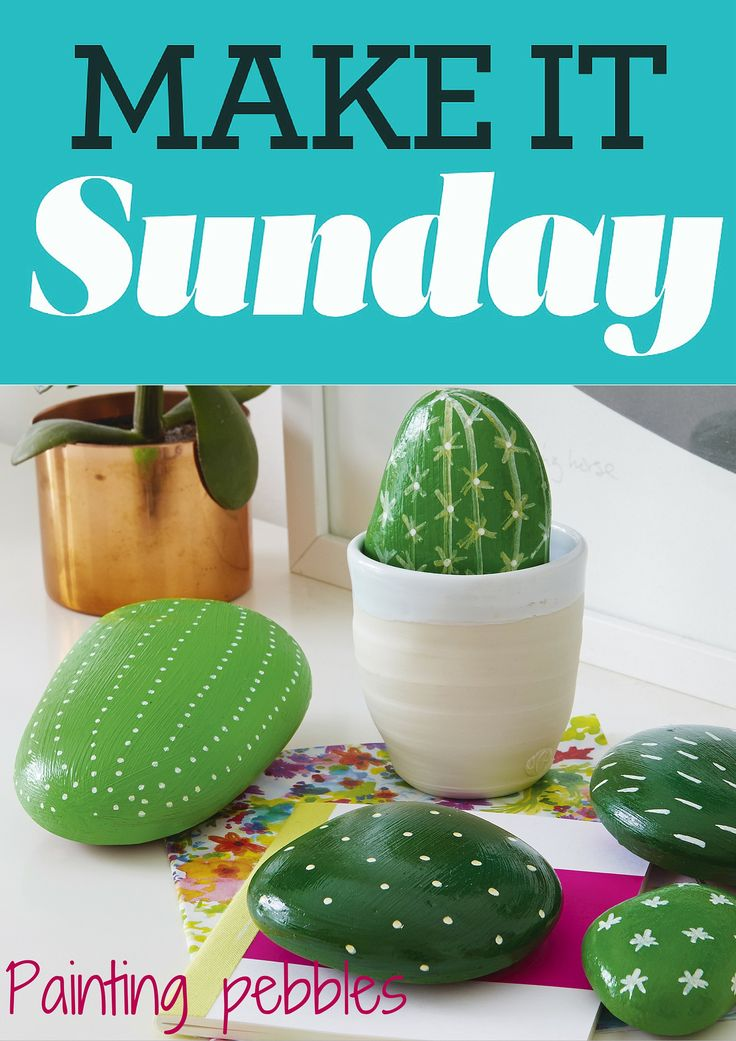 Painting pebbles craft idea. How to make cactus plant pebbles #craft #craftforkids #makeitsunday
