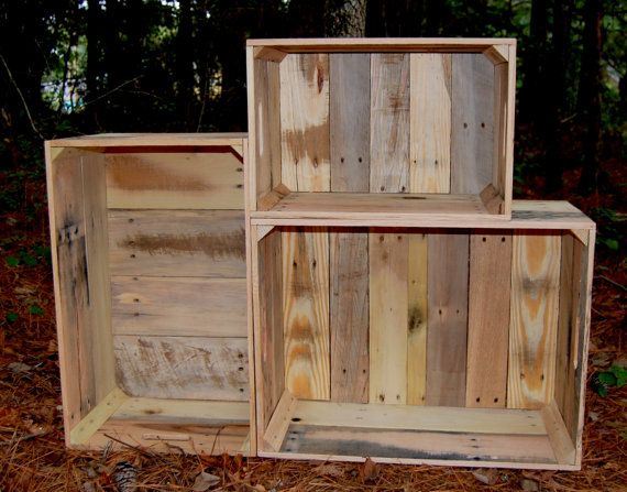 Reclaimed Wood Crates...Set of 3