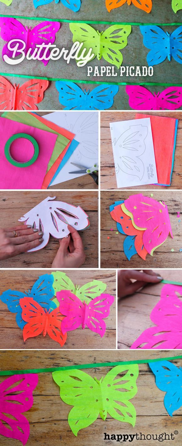 Inspired by the upcoming Day of the Dead, we've created these cute butterfly papel picado.