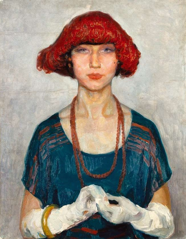 #Portrait by Adriano Sousa Lopes (1879-1944), 1925-8, A blusa azul (The blue blouse), Oil on canvas.
