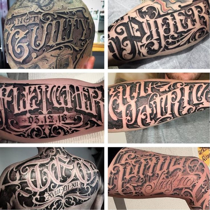 A collage of some of Sam Taylor's excellent lettering (IG—samtaylortattoos). blackandgrey hollowedVictorian lettering ornate SamTaylore script typography