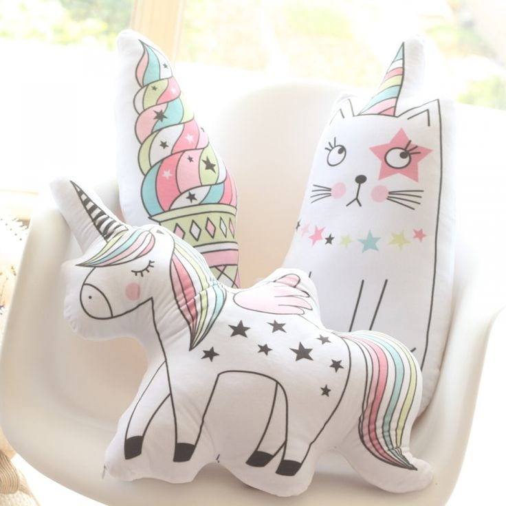 1pc Cute Rainbow Unicorn Cat Ice-cream Plush Pillow Sofa Cushion Home Decoration Birthday Gifts Kids Toys