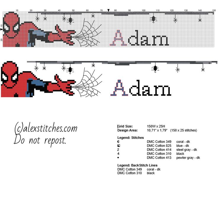 cross stitch names spiderman - Google Search