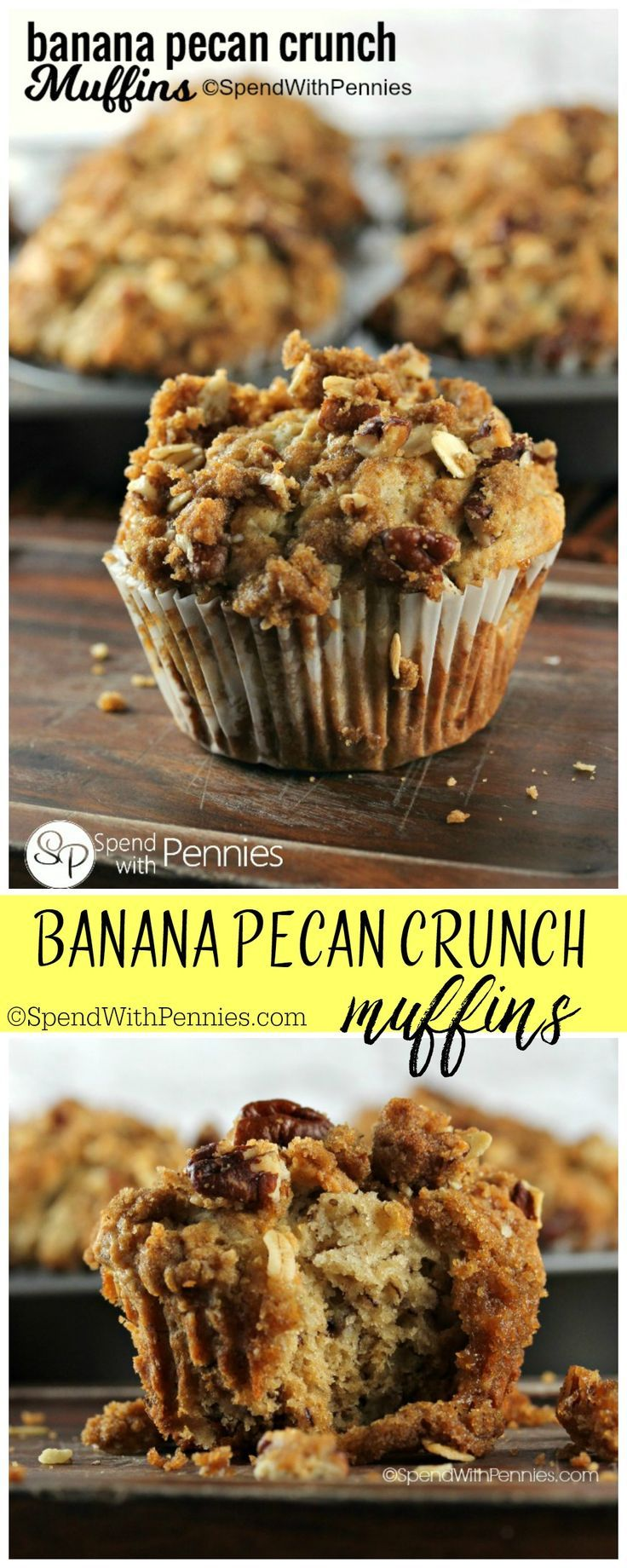 Our favorite muffins! These moist banana nut muffins are topped with a deliciously sweet & crunchy pecan streusel!